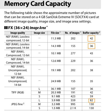 Nikon D3/D3s burst buffer limits and settings