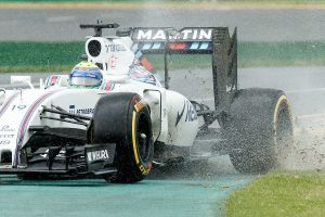 March 18, 2016: Felipe Massa (BRA) #19 from the Williams Martini Racing team runs off at turn 2 during practise session one at the 2016 Australian Formula One Grand Prix at Albert Park, Melbourne, Australia. Photo Sydney Low