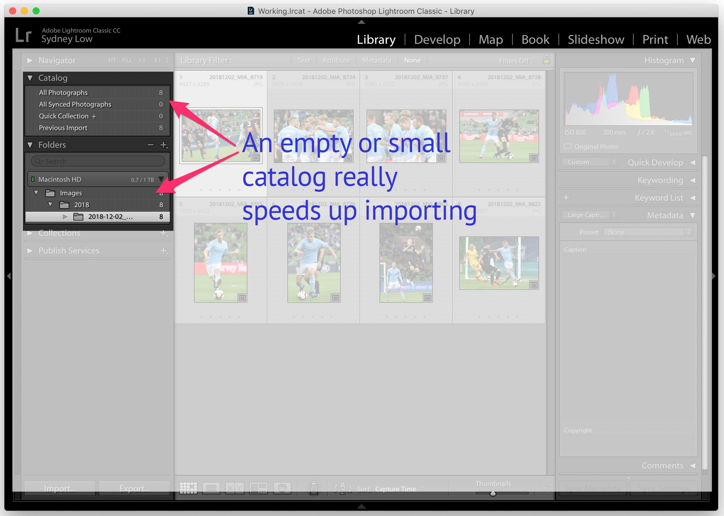 Use a small catalog to speed up import – Adobe Lightroom
